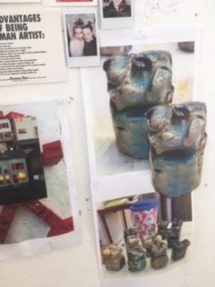 My raku clay figures photocopied blown up
